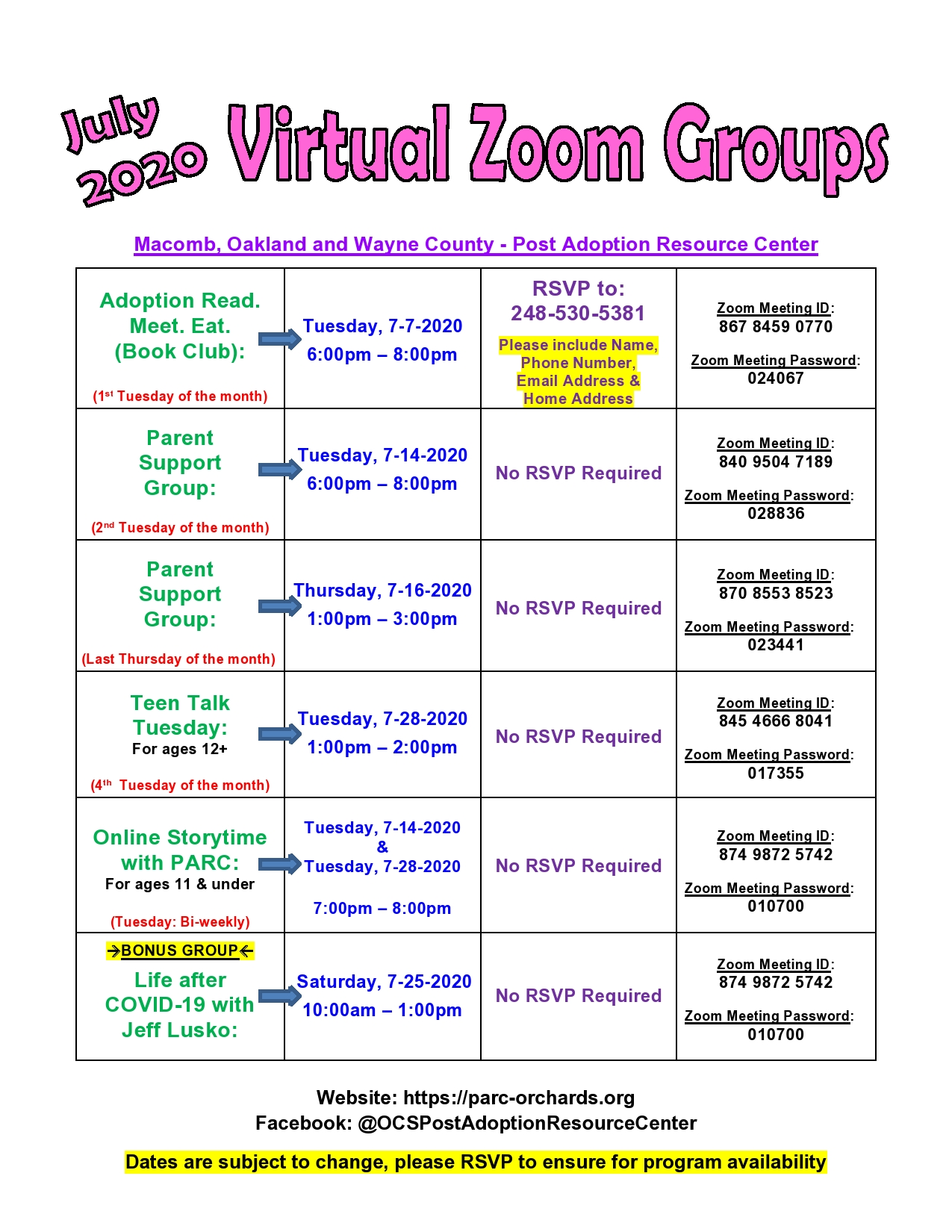 July 2020-wayne-oakland-macomb PARC virtual support group dates-page0001